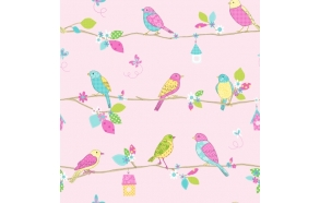 Hoopla Pretty Birds SidewallPink