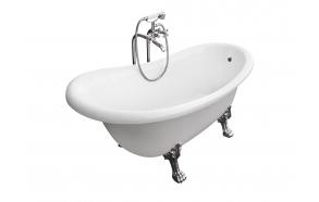 kylpyamme Interia Odelle 160, 180 l, 1600 x 770 mm valkoinen, kromiset tassut