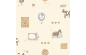 Hoopla Farm Animals Sidewall Neatral