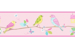 Hoopla Pretty Birds Border Pink