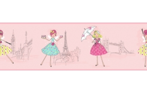 Hoopla Vintage Fairies Border Pink