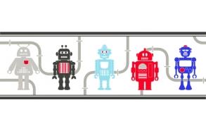 Hoopla Robots Border Navy