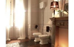 wc-istuin Kerasan Retro 1, P-lukko, keraamisella yläsäiliöllä, kromi