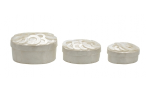 soikeat kannelliset helmisimpukat, setissä 3 kokoa, L 12,5 cm, 11,5 cm & 10 cm