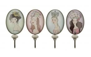 metallikoukut, tyttöaiheiset, 4 tyyliä, 6,5 cm L x 4,5 cm W x 15,5 cm H