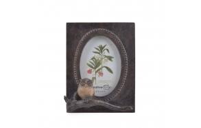 puinen pöllöaiheinen valokuvakehys, 15 cm L x 5,5 cm T x 20,4 cm H
