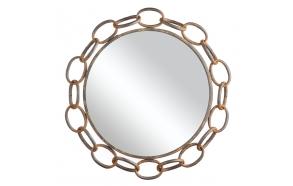 metallinen ruosteen värinen peili, läpim. 53 cm
