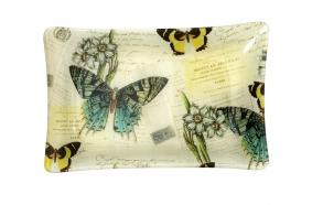 vintage perhosaiheinen lasitarjotin, 31 cm L x 21 cm W