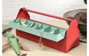 metallinen vintage viehelaatikko, repruktio, 45,5 cm L x 15,5 cm W x 19 cm H