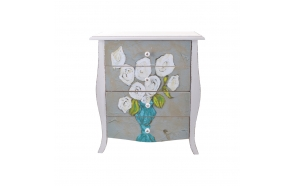 kukka-aiheinen puinen 4 laatikon lipasto, 55,2 cm L x 31 cm W x 60,6 cm H