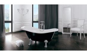 kylpyamme Interia Odelle 160, 180 l, 1600 x 770 mm musta/valkoinen, valkoiset tassut