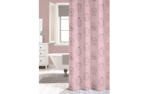 Suihkuverho NEW ROMANCE, pinkki, tekstiili