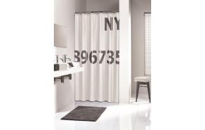 Suihkuverho DIGITS, tekstiili, valkoinen/harmaa