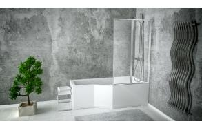 ammeseinä Interia Premium Beta 2, 800 x 1400 mm, suorakulmaiselle ammeelle, kromattu alumiini, kirkas turvalasi