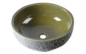 keraaminen pesuallas Interia Priori, pöytätasolle, kohokuvioitu, oliivi, 430 X 430 X 160 mm