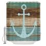 tekstiili suihkuverho Anchor 183x200 cm + suihkuverhon rengassetti