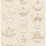 Tea Pots Sidewall, Gold / Beige