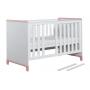 vauvansänky-sänky Mini, 140x70, valkoinen+pinkki