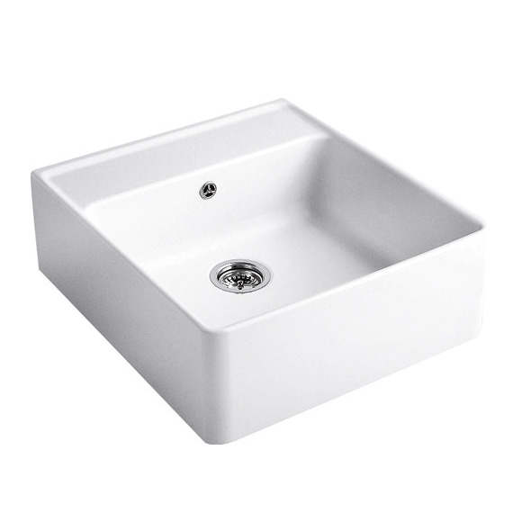 keraamiline köögivalamu Villeroy & Boch Butler Sink 60 Alpin White valge CeramicPlus + põhjaklapp, segistiavaga