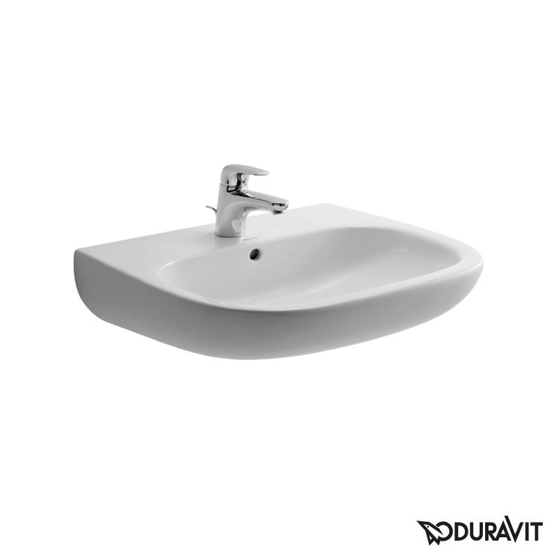 Duravit D-Code washbasin white, with 1 tap hole, with overflow