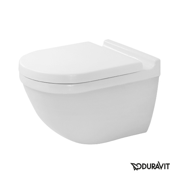 Duravit Starck 3 wall-mounted, washdown rimless toilet set with SoftClose seat & concealed fittings