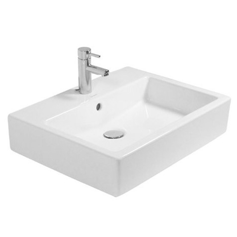 Duravit Vero washbasin white 600x470 mm, with 1 tap hole, grounded, with overflow
