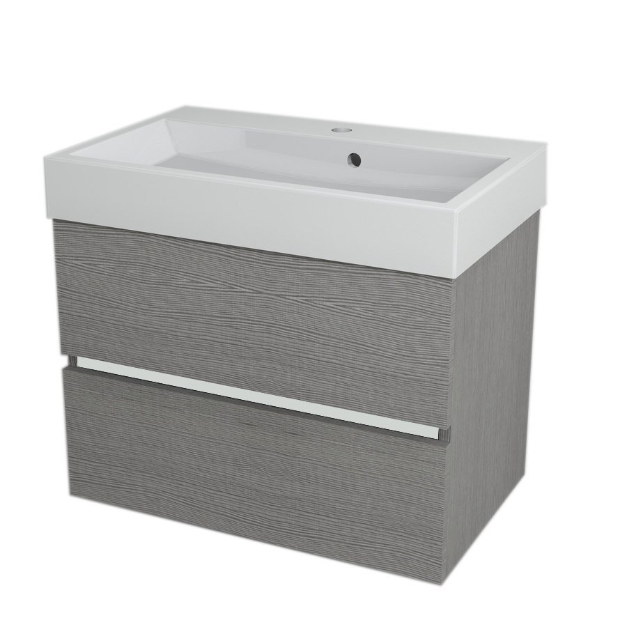 LARGO Basin Cabinet 69x50x41cm, Silver Oak