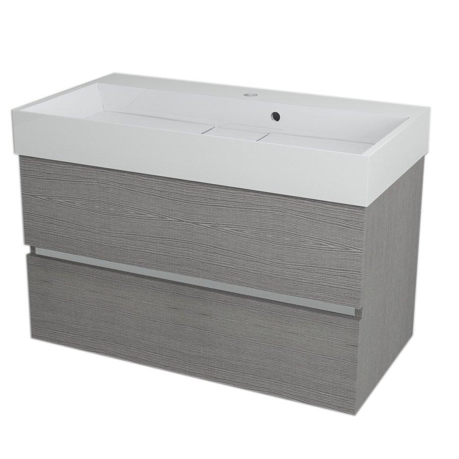 LARGO Basin Cabinet 89x50x45cm, Silver Oak