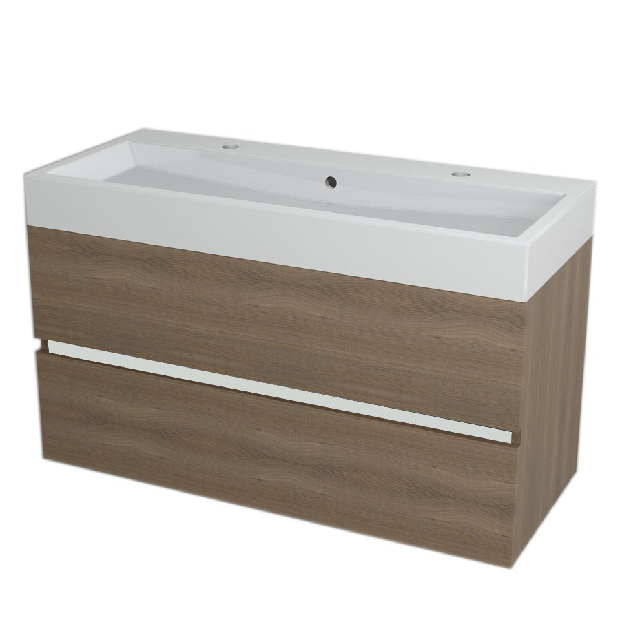 LARGO Vanity Unit 99x50x41cm, Walnut