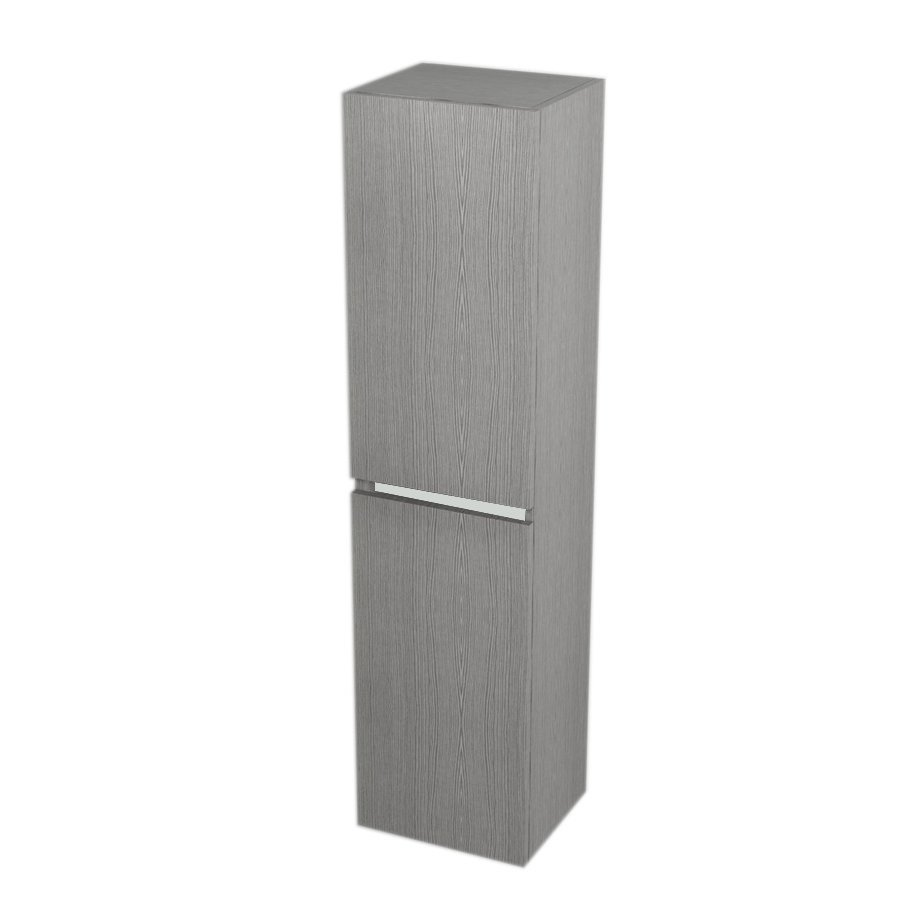 High Cabinet with Laundry Basket 35x140x30cm, left/right, Silver Oak