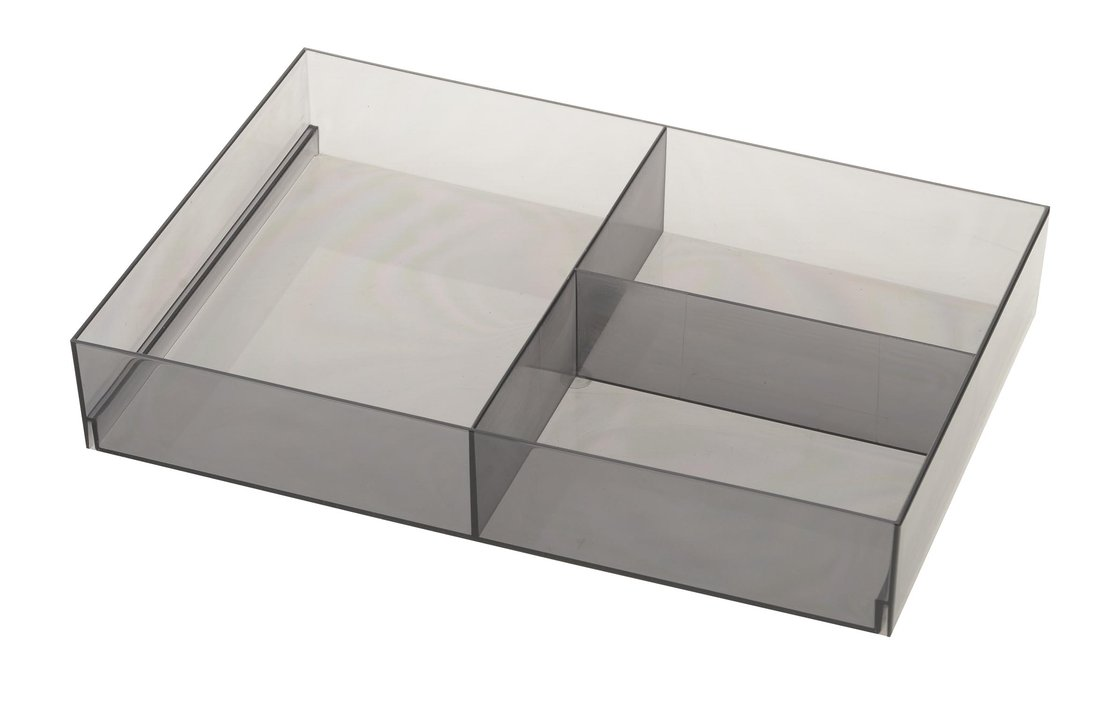 Plastic Drawer Organizer 202x50x302 mm, Smoke Grey